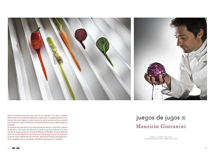 Doble página hablando del chef Mauricio Giovanini y su juego de jugos