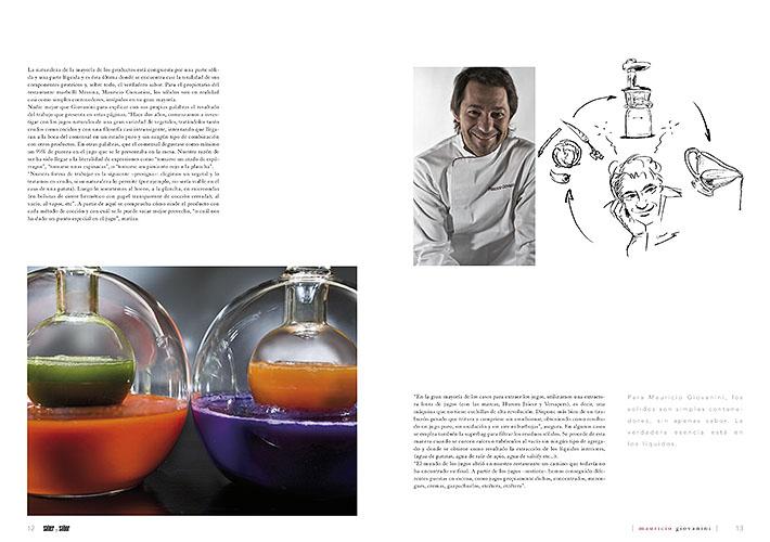 Doble página hablando del chef Mauricio Giovanini y su especialidad de los jugos
